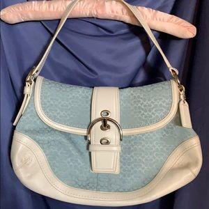 Coach Blue Signature Fabric/White Leather Purse